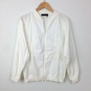 VTG white Bomber Windbreaker jacket womens M T35